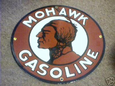 MOHAWK GASOLINE PORCELAIN COATED SIGN