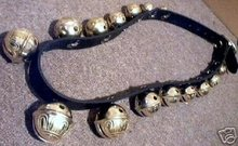 ONE STRAP OF 15 BRASS SLEIGH BELLS DOORBELLS B