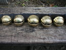 DOUBLE STRAP OF 19 BRASS SLEIGH BELLS DOORBELLS B