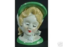 HAND PAINTED NIPPON LADY HEADVASE HEAD VASE-GREEN HAT