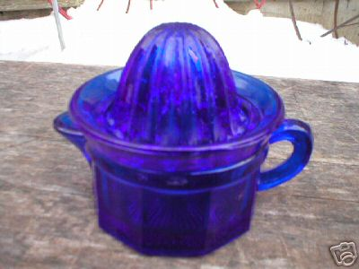 SMALL COBALT 2 PIECE JUICER/REAMER GLASS COLLECTIBLE