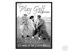 PLAY GOLF 3 STOOGES TIN SIGN