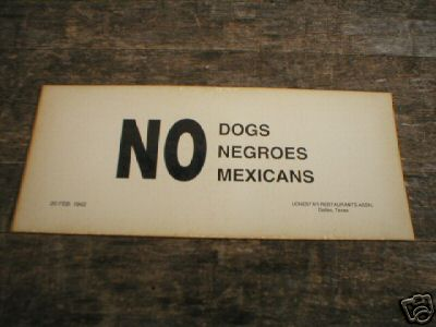 NO DOGS NEGROES  MEXICANS PRINT