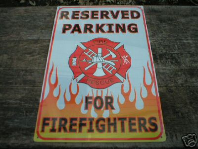 FIREFIGHTER PARKING TIN SIGN METAL ADV SIGNS