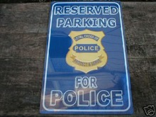 POLICE PARKING TIN SIGN METAL ADV SIGNS