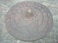 CAST IRON BUTTERFLY SUNDIAL GARDEN OR DECK ACCENT NR