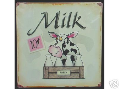 FRESH MILK 10 CENTS TIN COW SIGN METAL DAIRY AD SIGNS