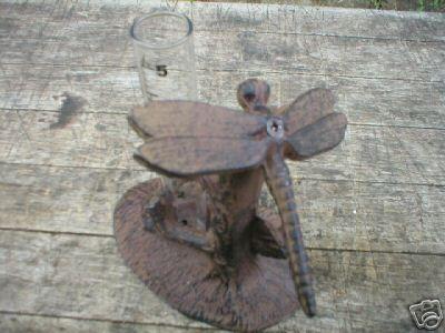 DRAGONFLY RAIN GAUGE CAST IRON GARDEN PATIO DECOR