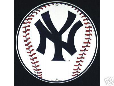 NEW YORK YANKEES TIN BASEBALL SIGN