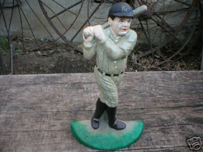 BABE RUTH DOORSTOP CAST IRON BASEBALL DECOR