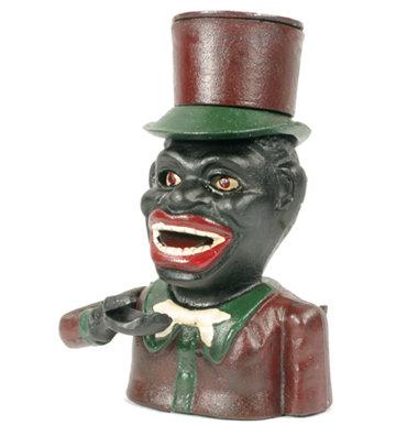 CAST IRON BLACK MAN TOP HAT MECHANICAL BANK