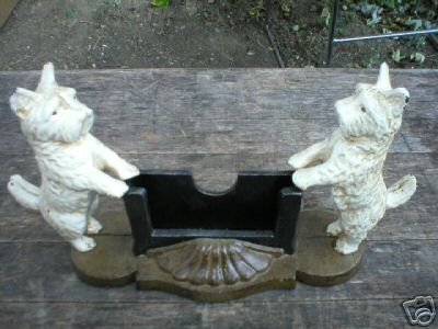 TWO SCOTTY BUSINESS CARD HOLDER CAST IRON