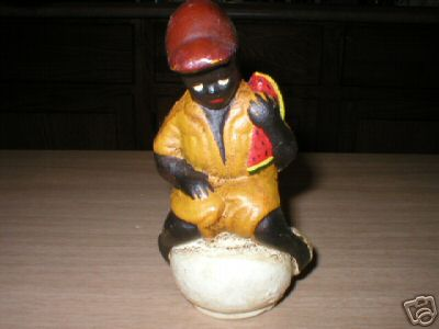 BLACK AMERICANA BOY  WATERMELON CAST IRON COLLECTIBLE