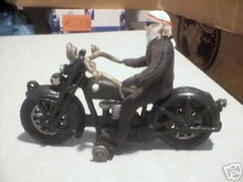 CAST IRON HIPPIE ON MOTORCYCLE COLLECTORS ITEM  NR