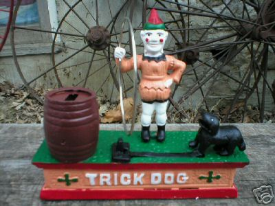 CAST IRON TRICK DOG MECHANICAL BANK COLLECTIBLE BANKS