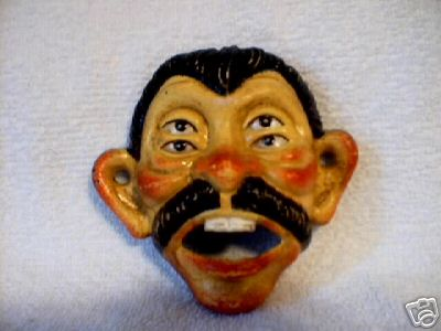 MAN WITH MOUSTACHE BOTTLE OPENER CAST IRON COLLECTIBLE