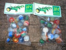 TWO BAGS OF JOHN DEERE MARBLES COLLECTORS MARBLE NR
