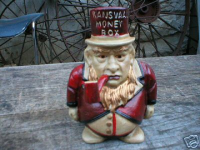 CAST IRON RANSVAAL MAN BANK COLLECTIBLE METAL BANKS NR