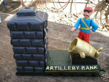 CAST IRON ARTILLERY MECHANICAL BANK COLLECTIBLE BANKS
