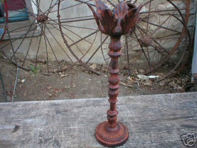 LARGE RUSTIC CAST IRON CANDLE HOLDER IOWA COLLECTIBLE