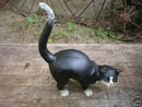 CAST IRON BLACK AND WHITE CAT IOWA COLLECTORS ITEM