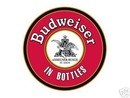 BUDWEISER BOTTLES ROUND TIN SIGN
