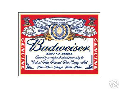 BUDWEISER LABEL TIN SIGN METAL ADV SIGNS