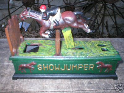 SHOW JUMPER HORSE CAST IRON MECHANICAL BANK NR