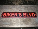 BIKER'S BLVD ALUMINUM SIGN