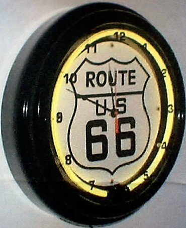 ROUTE 66 NEON CLOCK SIGN HOME GARAGE DECOR R