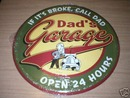 DAD'S GARAGE NEW TIN SIGN METAL SIGNS
