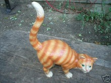 CAST IRON YELLOW-STRIPED CAT -