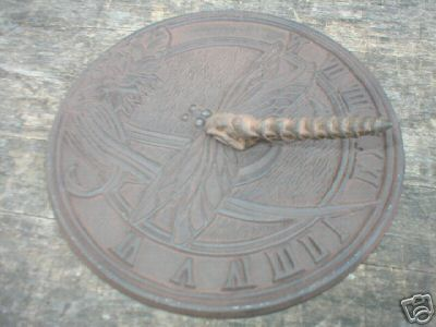 CAST IRON DRAGONFLY SUNDIAL GARDEN OR DECK ACCENT NR
