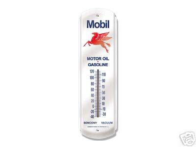 MOBIL PEGASUS GAS OIL STATION METAL THERMOMETER