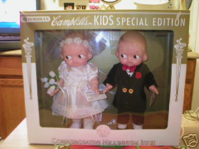CAMPBELLS BRIDE & GROOM DOLLS UNIQUE CHRISTMAS GIFT MIB