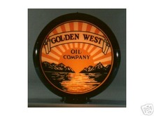 GOLDEN WEST GASOLINE GAS PUMP GLOBE SIGN 13.5