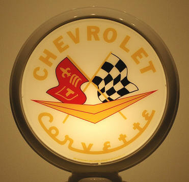 CHEVROLET CORVETTE GAS PUMP GLOBE SIGN