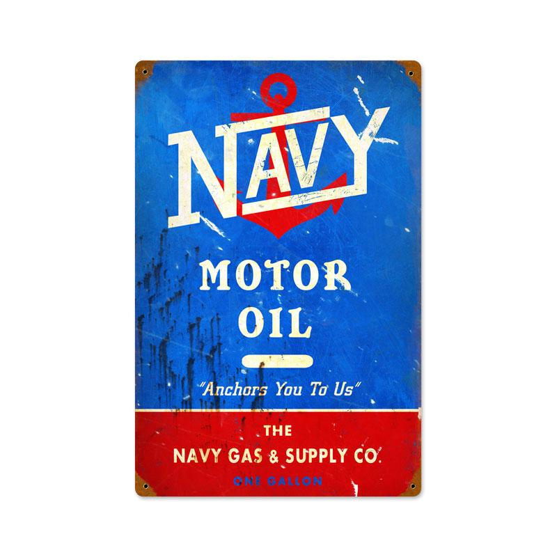 NAVY MOTOR OIL RETRO METAL SIGN