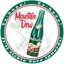 Mountain Dew Hillbilly Round Metal Sign