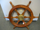 Decorative Wood & Brass Ship Wheel