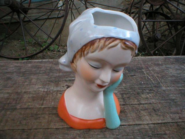 Porcelain Lady Headvase with Orange Top
