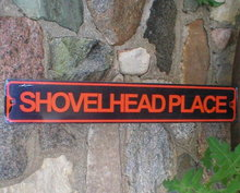 SHOVELHEAD ROAD TIN SIGN