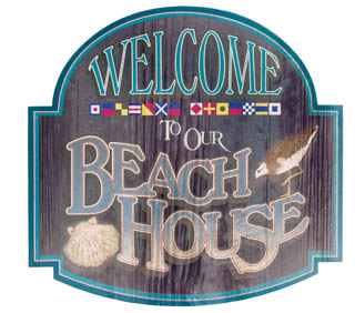 WELCOME TO OUR BEACH  HOUSE TIN SIGN METAL HOME SIGNS B
