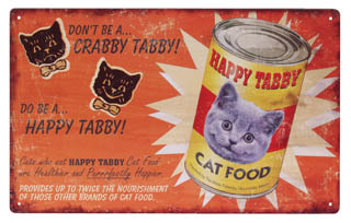 HAPPY TABBY CAT FOOD TIN METAL SIGN