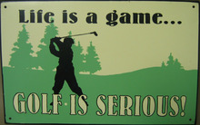 GOLF IS SERIOUS TIN METAL SIGN