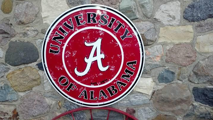 University Alabama College Sign Crimson Roll Tide Football Round Metal 24