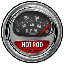 HOT ROD TACH LARGE ROUND METAL SIGN