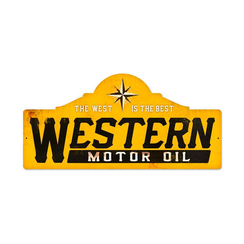 WESTERN MOTOR OIL LARGE METAL SIGN