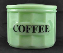 JADE JADITE JADEITE BIG COFFEE CONTAINER GLASS LID