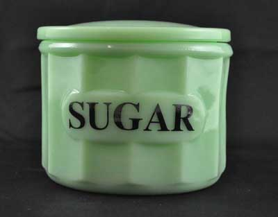 JADE JADITE JADEITE SUGAR CONTAINER GLASS LID